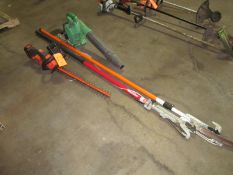 Lot - Extendable Pruners, Black & Decker Hedge Trimmer and Gas Leaf Blower