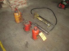 Lot - (3) Bottle Jacks and (1) Enerpac Pump