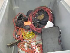 Lot - Assorted Extension Cords, Hoses, Squegee, Etc.