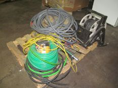 Lot - Assorted Hoses, Hose Reel, Extension Cords, Ext.
