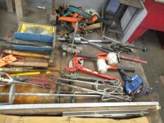 Lot - Miscellaneous Hand Tools, to Include: Riverter, Shear, Mixing Blades, Saw Blade, Harness,