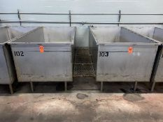 Lot - (2) 850 Gallon Cap. Stainless Steel Rectangular Tanks; with Bottom Perforated Screen, (4)