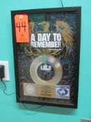 """RIAA Certified Gold Record for the Single """"Have Faith In Me"""" by A Day To Remember, to Commemorate"""
