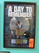 """RIAA Certified Gold Record for the Album """"Homesick"""" by A Day To Remember, to Commemorate Sales of"""