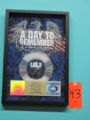 """RIAA Certified Gold Record for the Single """"If It Means A Lot To You"""" by A Day To Remember, to"""