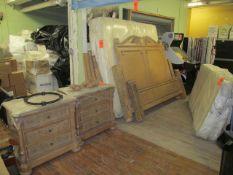 Lot - Queen Bedroom Set, to Include: Wood Bedframe, (2) Nightstands, Mattress and Box Springs