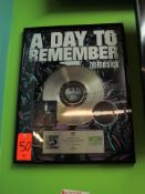 """Gold Record for the Album, """"Homesick"""" by A Day To Remember, Presented by BPI The British Recorded"""