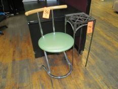 Lot - Bar Stool, Table & Garbage Can