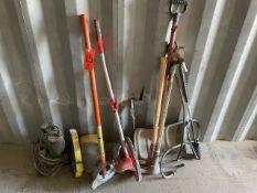 Lot - Assorted Hand Tools, Conduit Bender, Lufkin Measuring Wheel, Picks, Shovels, Etc.