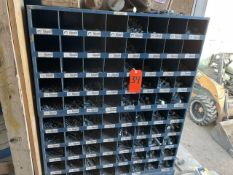 Lot - 80-Hole Parts Bin with Stand and Bolts, Washers; (2) 40-Hole Parts Bins with Bolts; 36-Hole