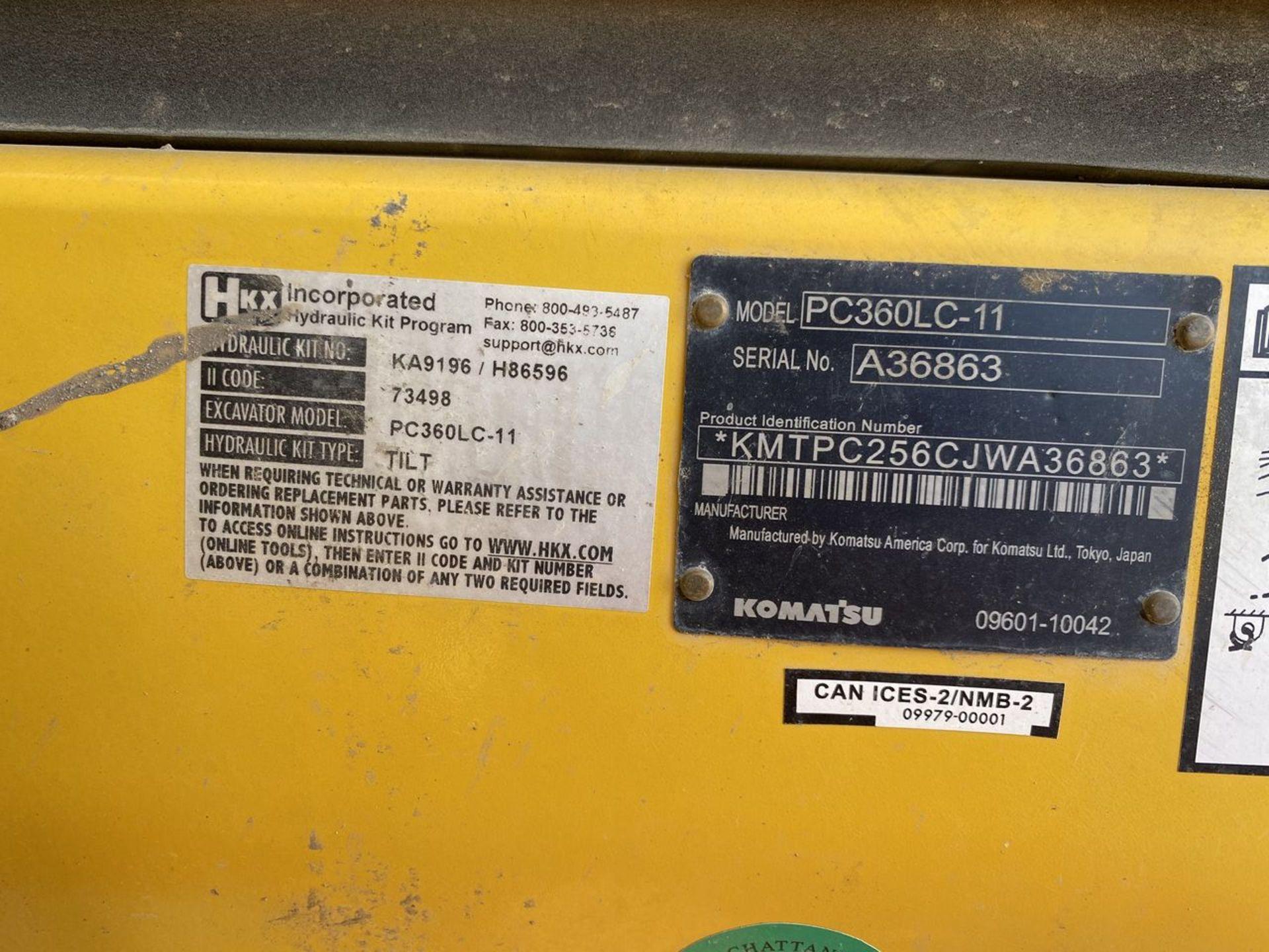 2018 Komatsu PC360LC-11 Hydraulic Crawler Excavator, S/N: A36863, PIN: KMTPC256CJWA36863; with 2,883 - Image 19 of 19