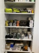 Lot - Assorted Safety Vests, Safety Glasses, Ear Plugs, Posigrip Gloves (Cabinet Not Included)