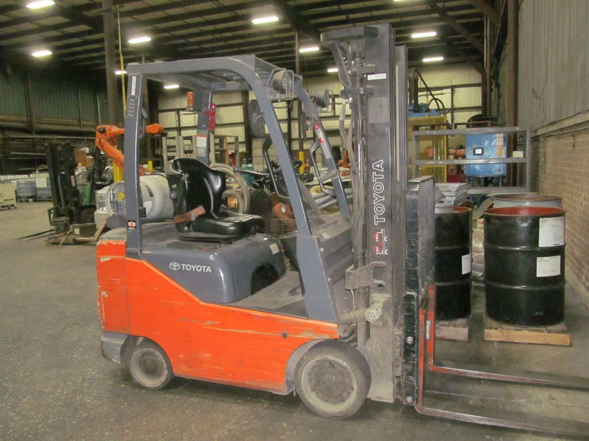 Toyota 5,000 lb. Cap. (approx.) Model 8FGCSU20 LP Fork Lift Truck, S/N: 20712; with 3-Stage Mast,