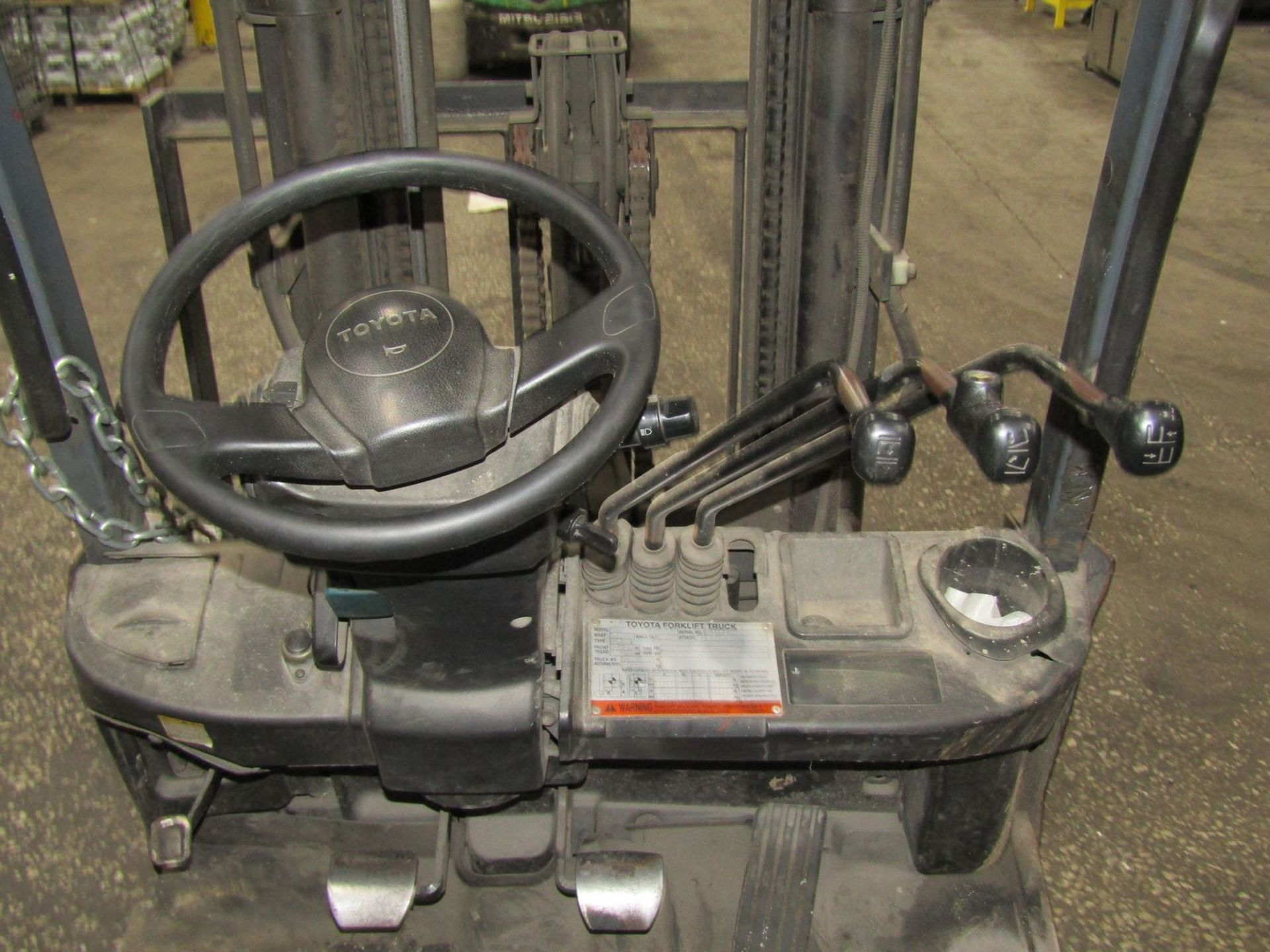 Toyota 2,200 lb. Cap. Model 8FGCSU20 LP Fork Lift Truck, S/N: 13770; with 3-Stage Mast, Side - Image 9 of 11