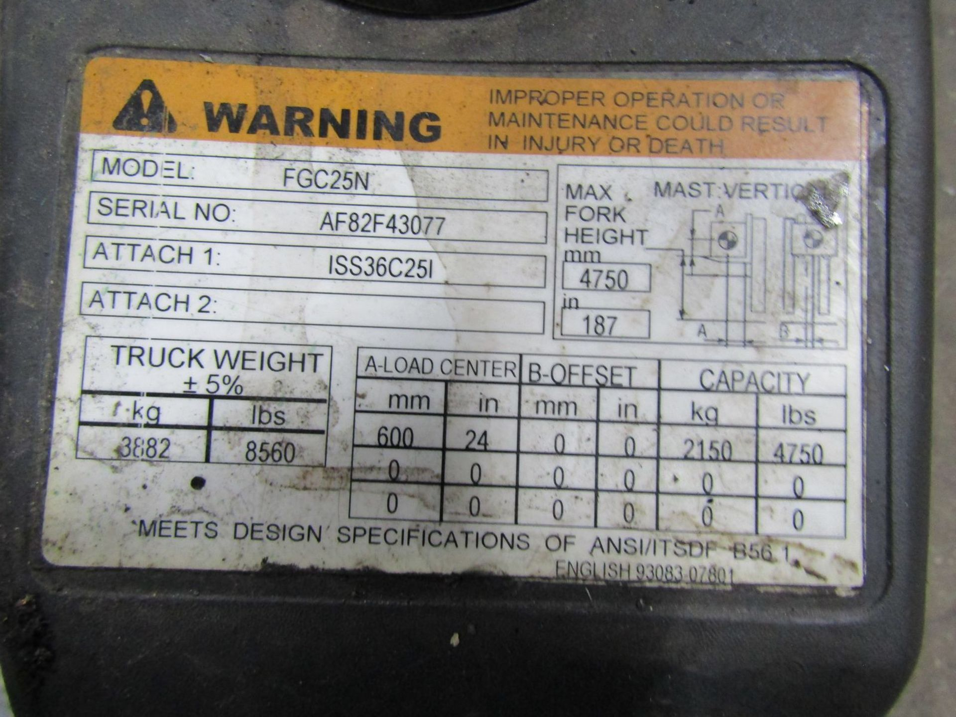 Toyota 5,000 lb. Cap. (approx.) Model 8FGCSU20 LP Fork Lift Truck, S/N: 20712; with 3-Stage Mast, - Image 8 of 8