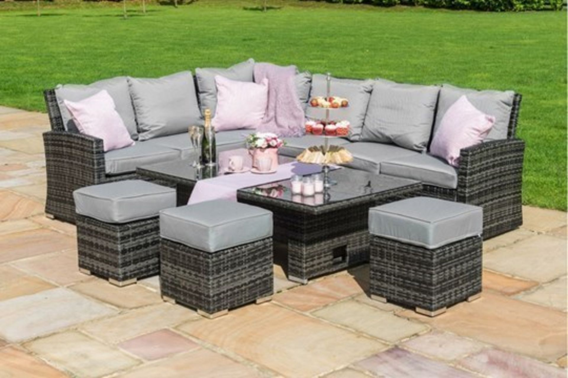 Rattan Kingston Corner Outdoor Dining Set With Rising Table (Grey) *BRAND NEW*