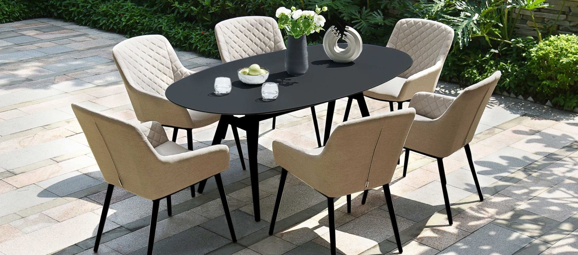 Lot 46 - Zest 6 Seat Oval Outdoor Fabric Dining Set (Taupe) *BRAND NEW*