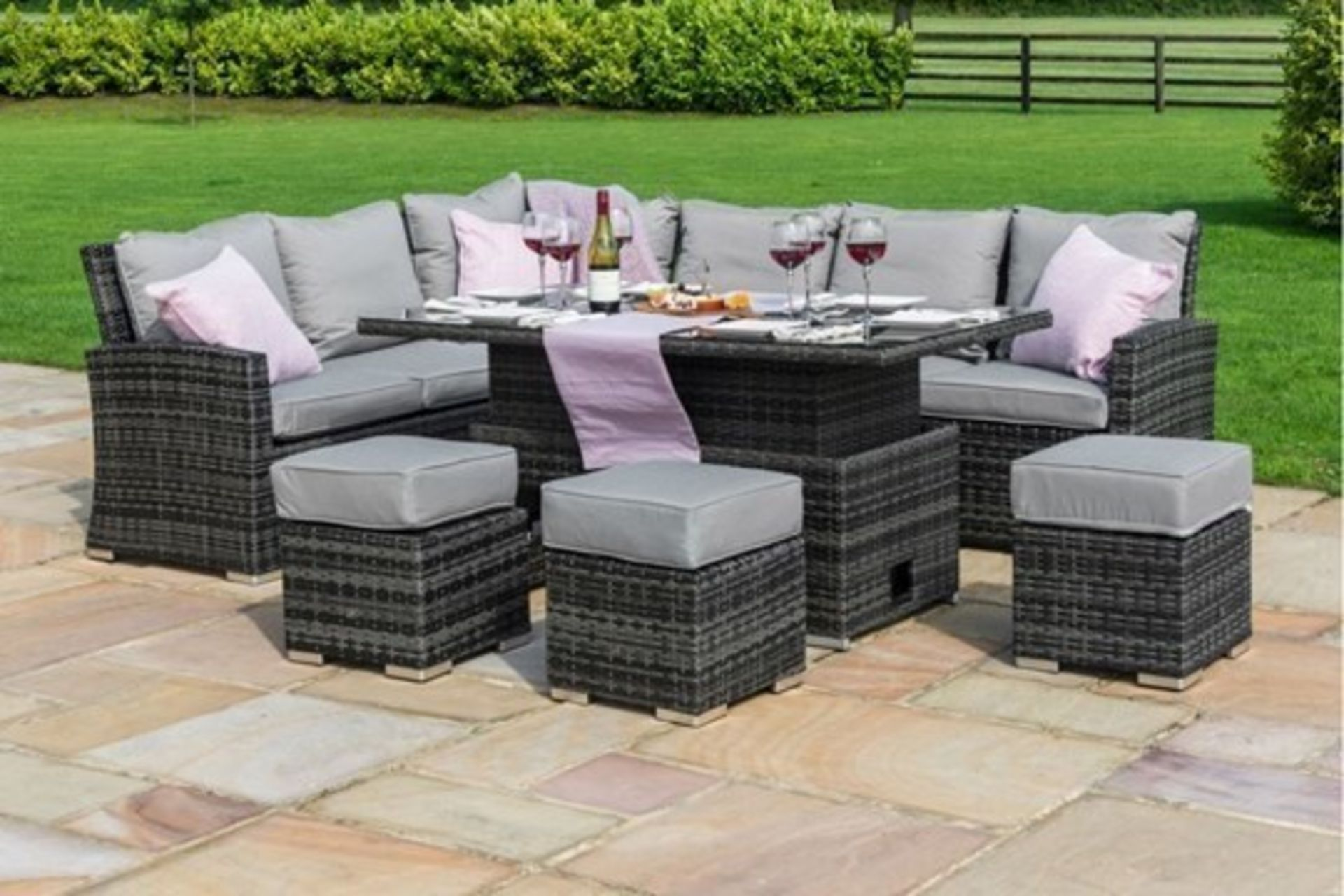Rattan Kingston Corner Outdoor Dining Set With Rising Table (Grey) *BRAND NEW* - Image 2 of 3