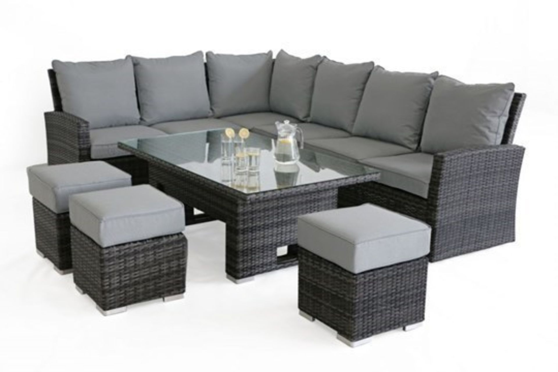 Rattan Kingston Corner Outdoor Dining Set With Rising Table (Grey) *BRAND NEW* - Image 3 of 3