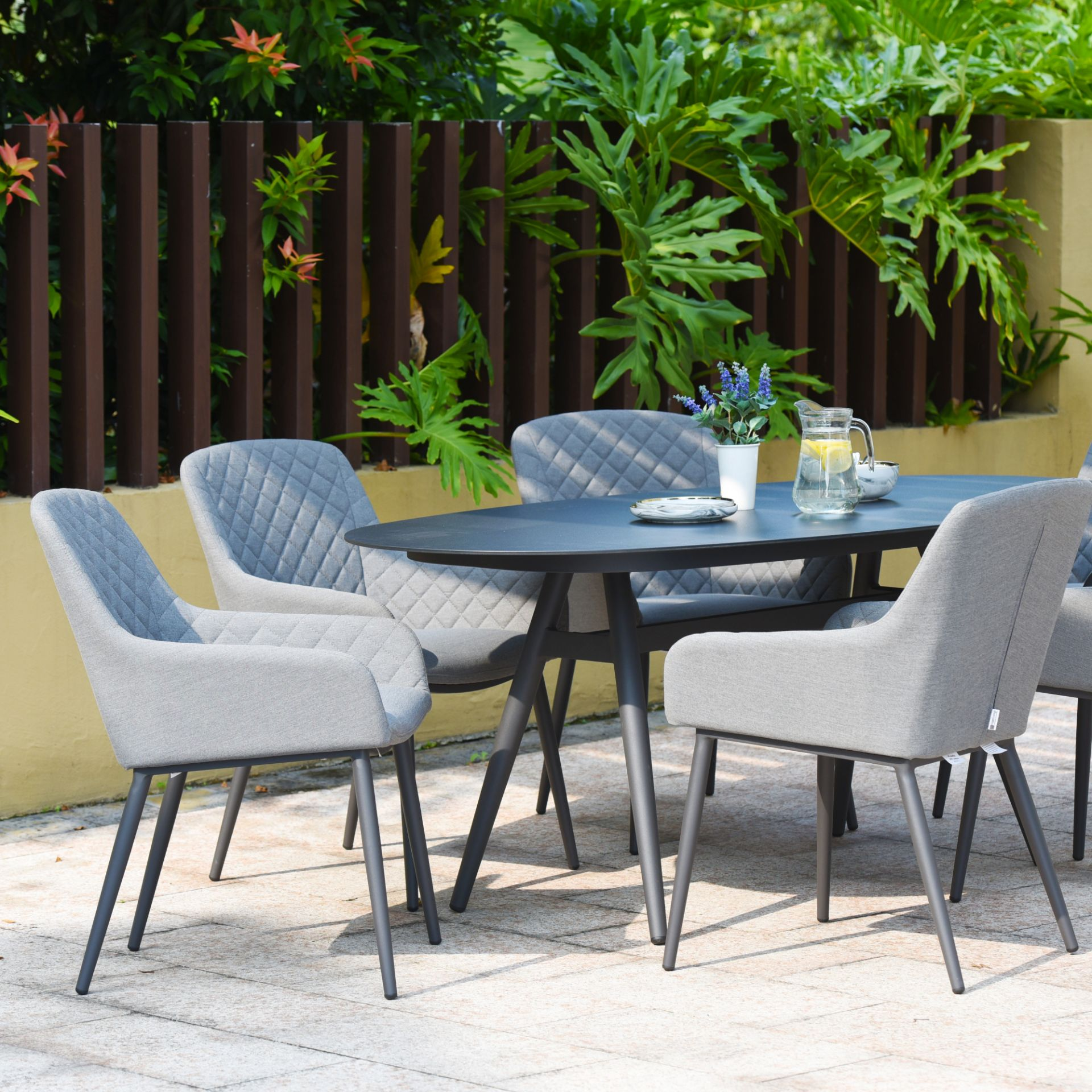 Lot 45 - Zest 6 Seat Oval Outdoor Fabric Dining Set (Flanelle) *BRAND NEW*