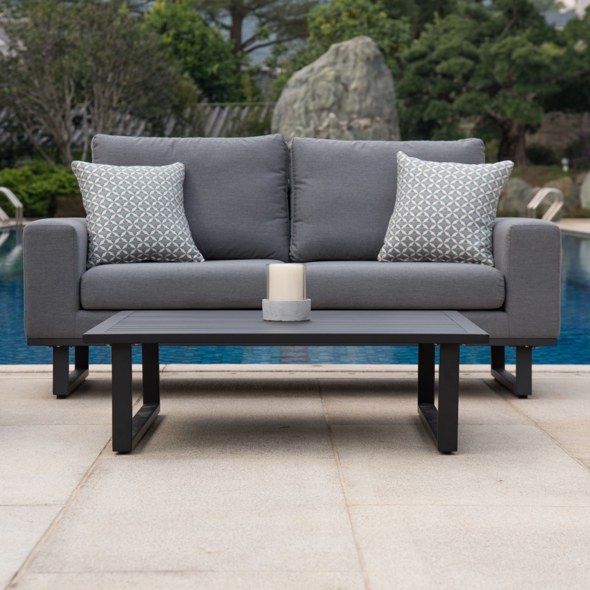 Lot 49 - Ethos Outdoor 2 Seat Sofa Set With Coffee Table (Flanelle) *BRAND NEW*
