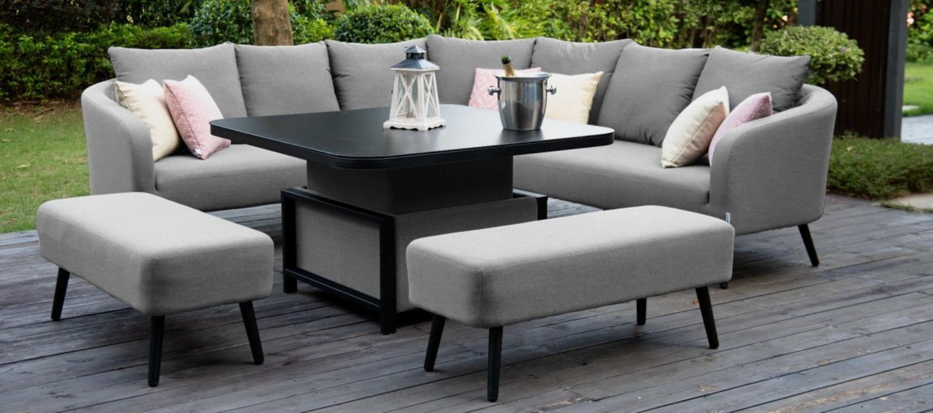 Lot 48 - Ambition Outdoor Square Dining Set With Rising Table (Flanelle) *BRAND NEW*
