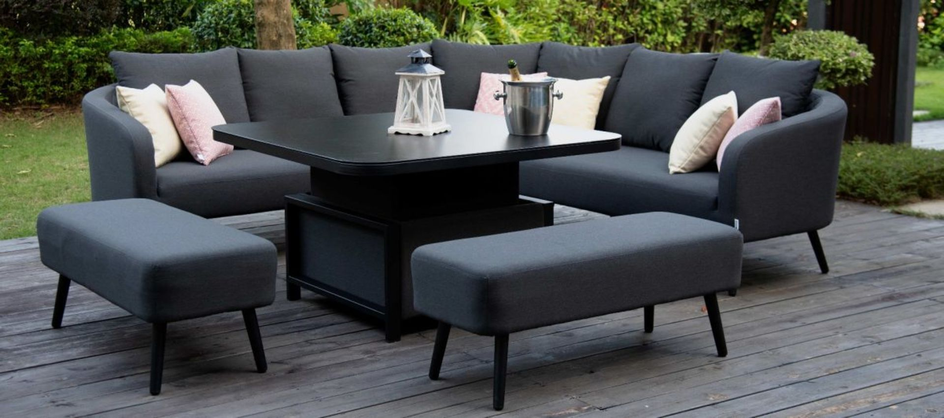 Lot 47 - Ambition Outdoor Square Dining Set With Rising Table (Charcoal) *BRAND NEW*