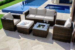 Rattan Georgia 3 Seat Sofa Set With Ice Bucket (Brown) *BRAND NEW*