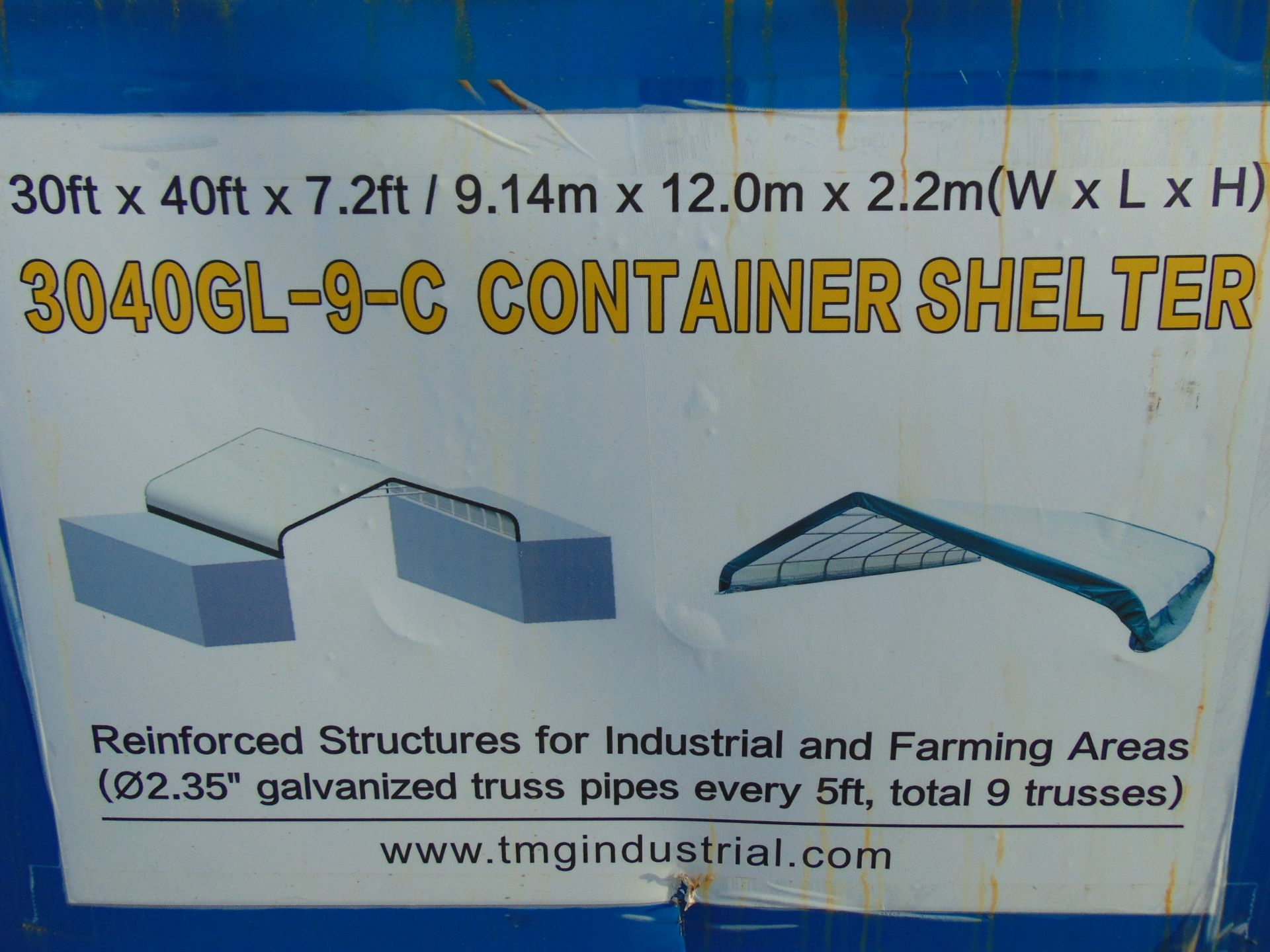 Lot 57 - Container Shelter 30'W x 40'L x 7.2' H P/No 3040GL-9-C