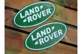 2 x Cast Iron Land Rover Wall Plaques
