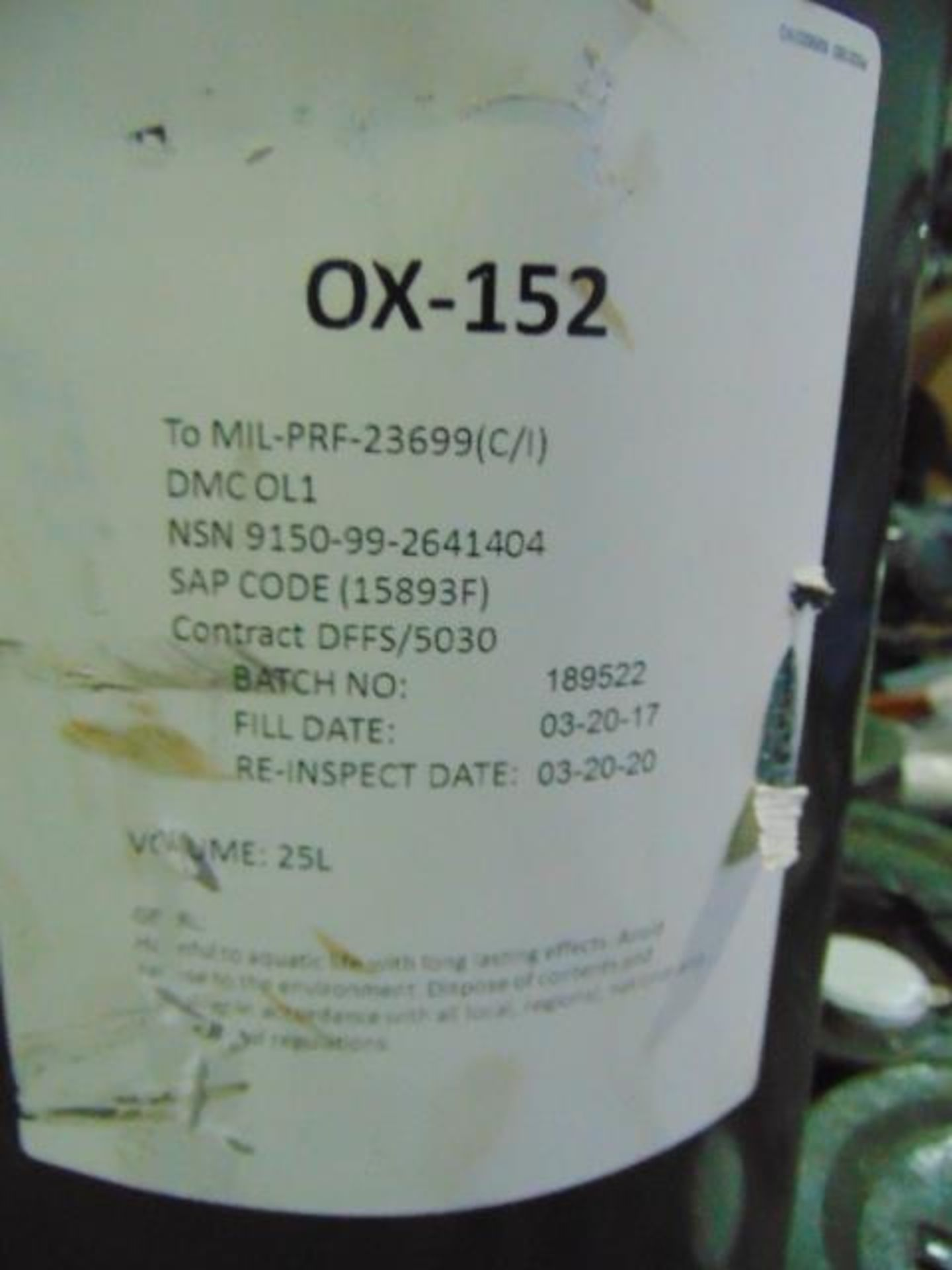 Lot 91 - Qty 19 x 25Ltr OX-152 Turbine Oil direct from reserve stores