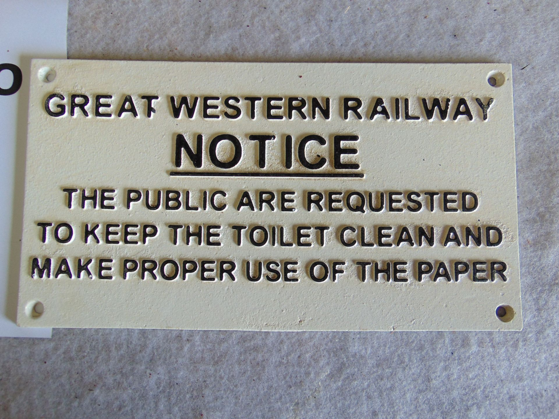 Lot 272 - Unissued GWR Cast Iron Railway Sign