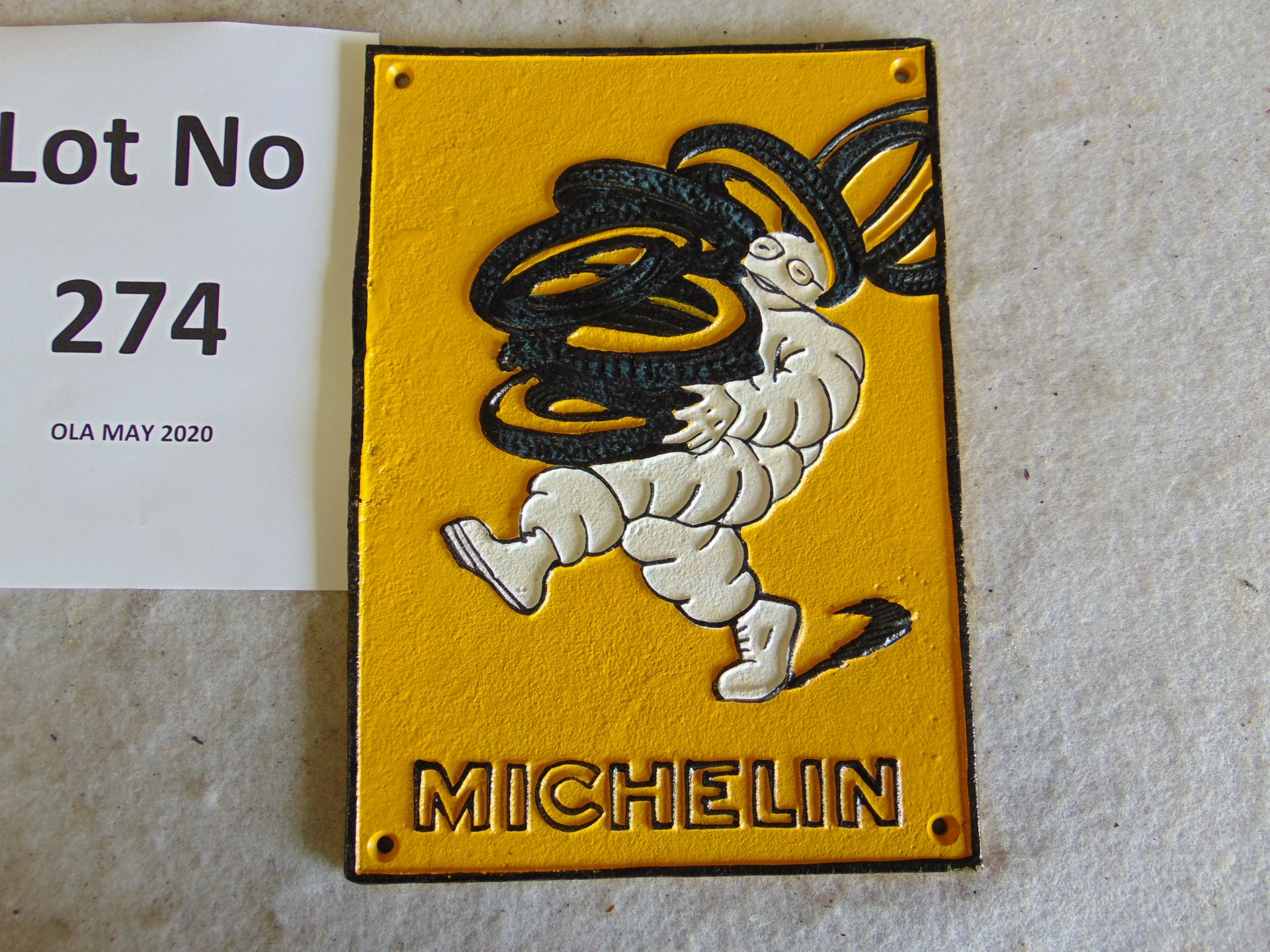 Lot 274 - Unissued Michelin Cast Iron Wall Plaque