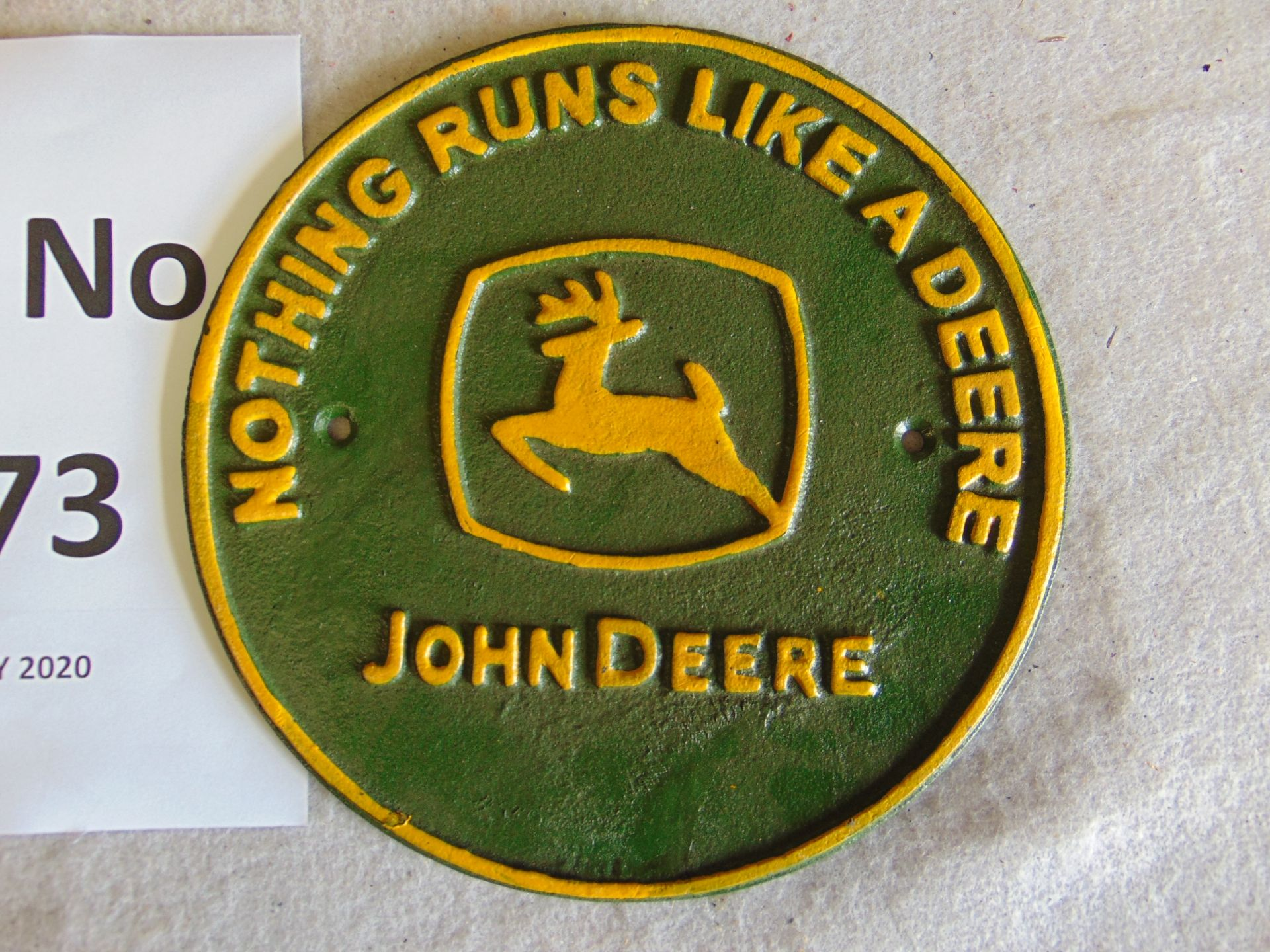 Lot 273 - Unissued John Deere Cast Iron Wall Plaque