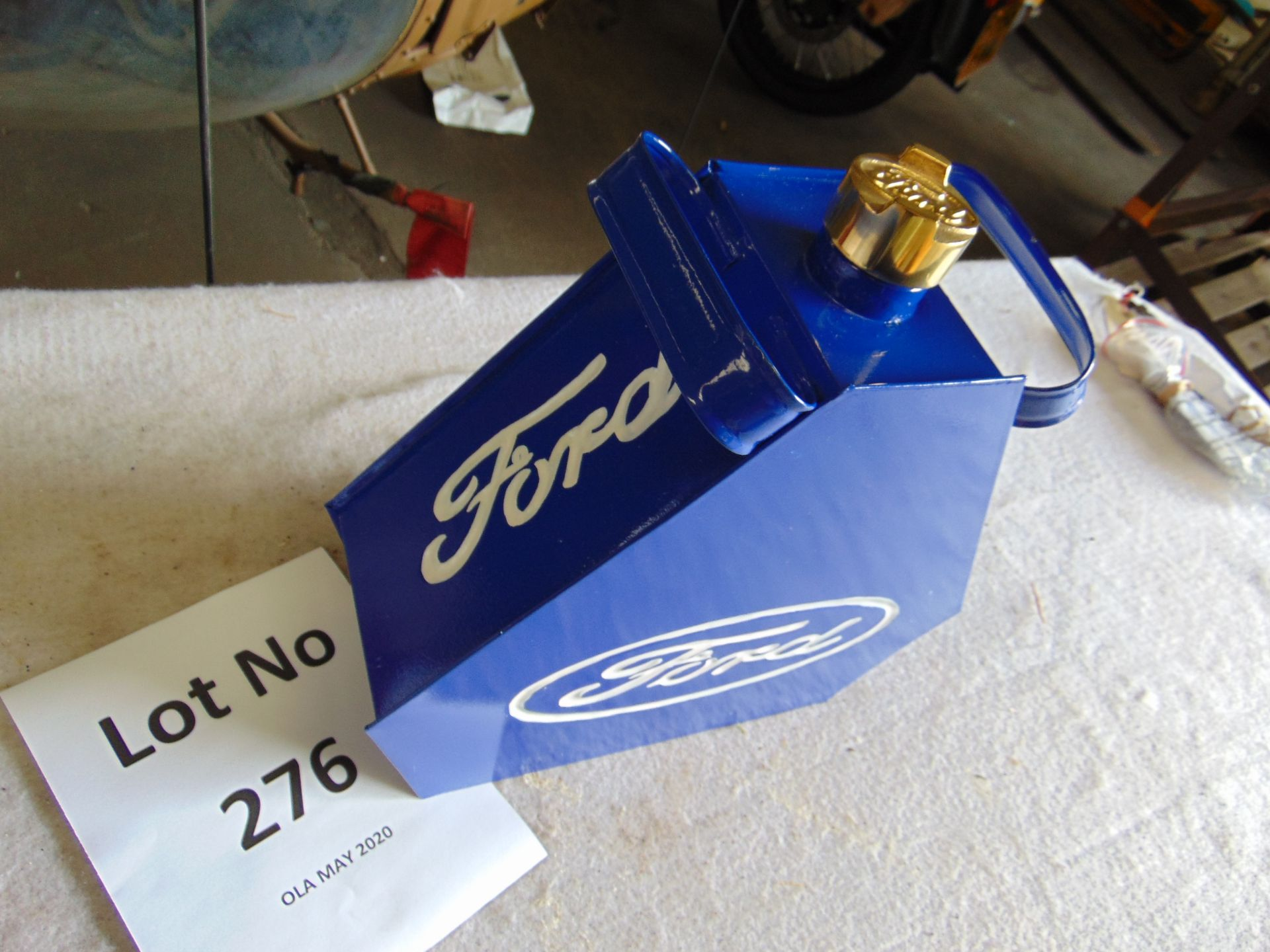 Lot 276 - Unused Ford Triangle 1 Gall Fuel/Oil Can with brass screw cap