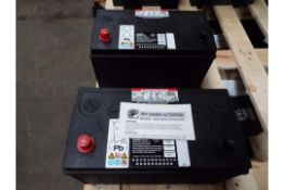 Qty 2 x Unissued 354-3613 Dry Charge 12v 90A.H. Batteries.