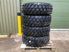 Quantity 4 x 365 / 85 R 20 Michelin XZL 164 G fitted 10 stud split rim c/w run flat insert unused