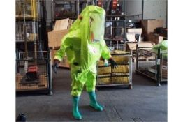Unissued Respirex Tychem TK Gas-Tight Hazmat Suit Type 1A with Attached Boots and Gloves Medium