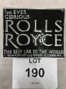 Cast Aluminium Rolls Royce Advertising Sign