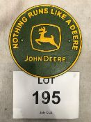 Cast Iron John Deere Tractor Wall Sign