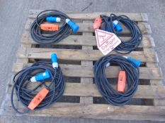 4 x Electric Cable Assys C/W Plugs & Heavy Duty In Line PowerBreakers