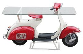 Vintage Vespa 150 Scooter Glass Top Table