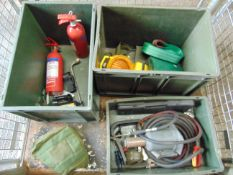 Mixed Stillage including Tools, Jacks, Tow Strops, Fire Extinguishers for Land Rovers, Trucks etc