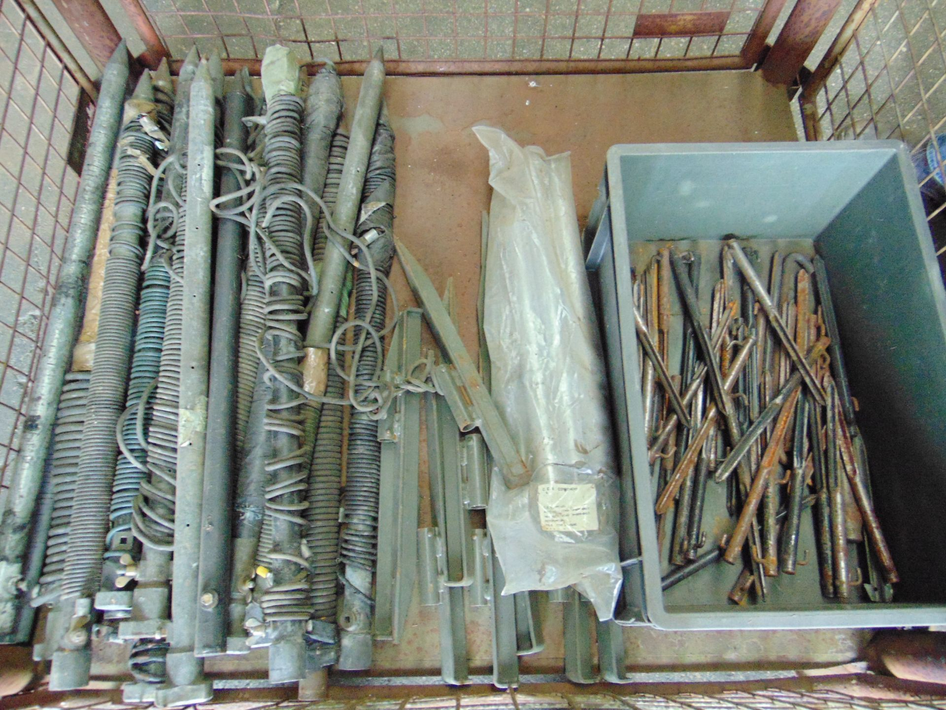 Lot 112 - Mixed Stillage including Tent Pegs, Earthing Spikes etc