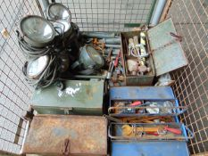 Mixed Stillage of Tools, Tool Boxes, FV Search Lights etc