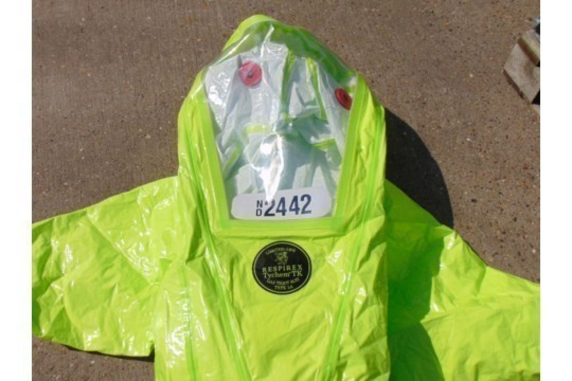 Lot 38 - Unissued Respirex Tychem TK Gas-Tight Hazmat Suit Type 1A with Attached Boots and Gloves MEDIUM