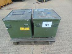 2x HD ALUMINIUM STORAGE CASES STACKING WITH HANDLES- 78cm x 65cm x 60 cm