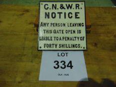 CAST IRON GN&WR RAILWAY SIGN