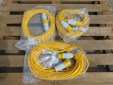 3 x Unissued 10m 110v Extension Leads