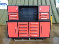 Unused 7' Work Bench/Tool Cabinet, 18 Drawers, Lock Anti Slip Liners